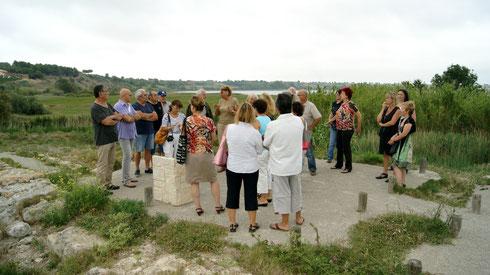 historique du chemin et de la villa du temple de Venus relaté par la présidente du parc culturel du Biterois