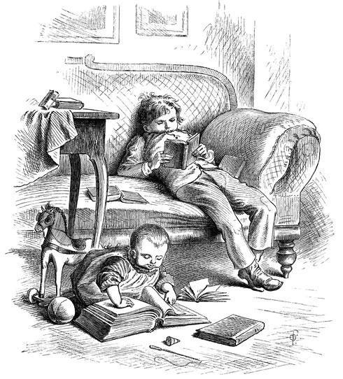 Die Zeichnung zeigt zwei lesende Kinder.