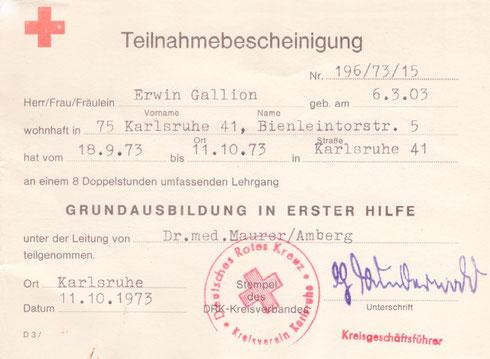 """1973: """"Zeitzeugen"""" - Erste-Hilfe-Teilnahmebescheinigung eines Mitglieds"""