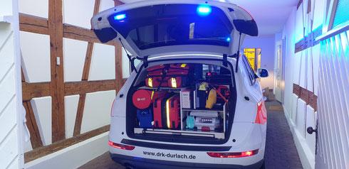 Teilausstattung Kofferraum des neuen Notfall-Fahrzeuges