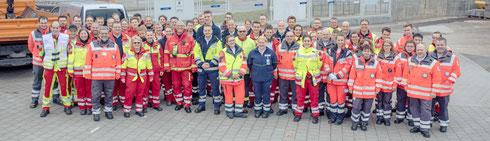 Gruppenbild der teilnehmenden Einsatzkräfte aller Hilfsorganisationen