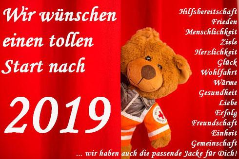 Das Rotkreuzbärchen sowie die Durlacher Rotkreuzler wünschen einen tollen Start nach 2019!