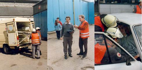 1996: Katastrophenschutzübung auf dem Gelände der Firma Auto Böhler in Durlach