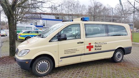 MTW Betreuung 51/19-9 beim Einsatz im Sanitätswachdienst am Wildparkstadion Karlsruhe