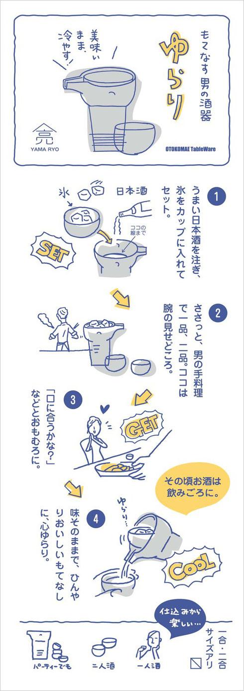 ヤマ亮横井製陶所の商品「ゆらり(冷酒器)」美濃焼冷酒変わった陶器変な陶器窯元直販