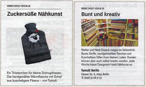 """Berliner Zeitung- Beilage """"quartier"""" / 12.10.2013"""