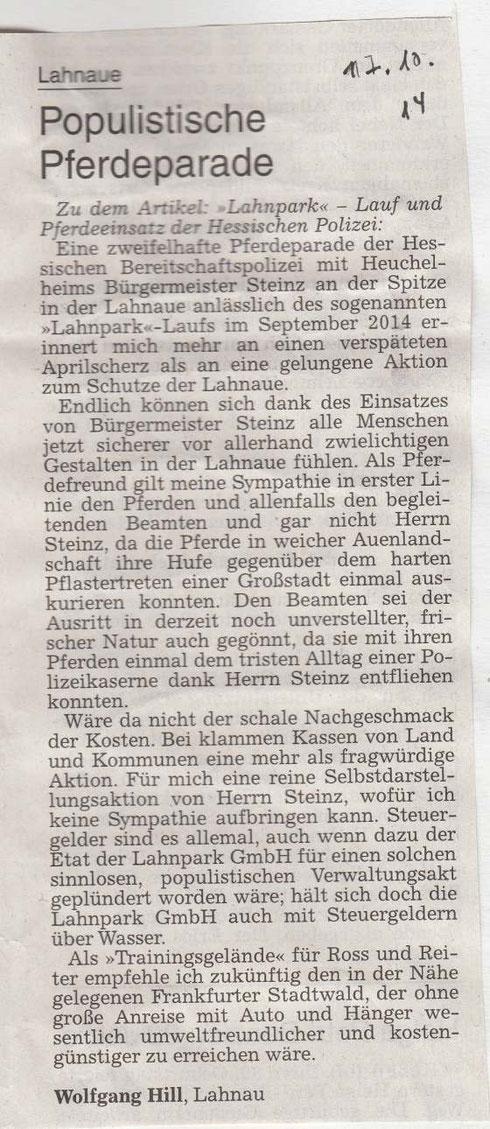 Leserbrief in Gießener Allgemeinen Zeitung vom 17.10.2014