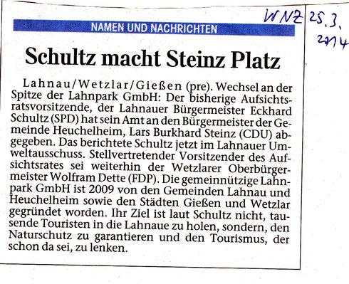 WNZ Artikel zum Wechsel an der Lahnparkspitze 25.3.2014