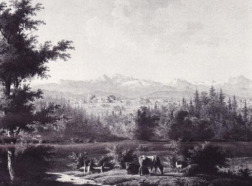 Bläsihof und Umgebung, Aquarell von Wilhelm Scheuchzer, 1828