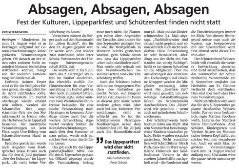 Wa 2020.05.08 - Absagen, Absagen, Absagen - FdK, Lippeparkfest und Schützenfest finden nicht statt