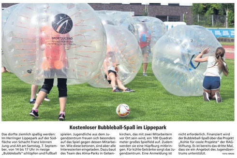 WA 04.09.19 - Kostenloser Bubble-Ball Spaß im Lippepark