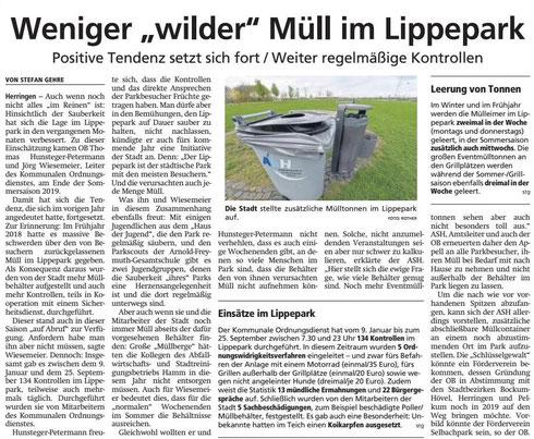 """WA 22.10.19 - Weniger """"wilder"""" Müll im Lippepark"""