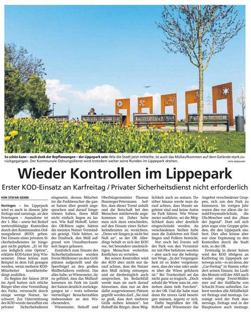 12.04.2019 - Wieder Kontrolle im Lippepark - Aufräumarbeiten