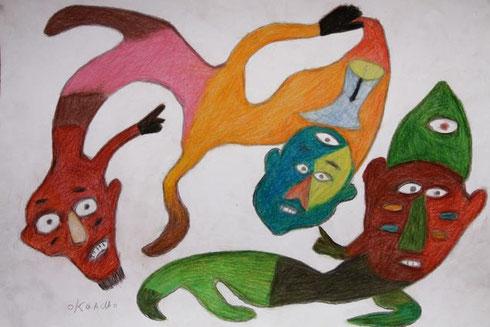 Ataa Oko: Geister, 2010. Der Künstler war ein ghanaischer Sarg- und Sänftenbauer. Er malte u.a. Geister, die er zu sehen glaubte. Foto: Regula Tschumi.  Diese Datei ist lizensiert unter der Creative Commons Attribution-Share Alike 3.0 Unported Lizenz