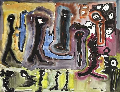 Jeanne Hauville war eine der art brut verwandte französische Malerin. Aquarell, 50 x 65 cm, 1990. Diese Datei ist lizensiert unter der Creative Commons Attribution-Share Alike 4.0 International license.