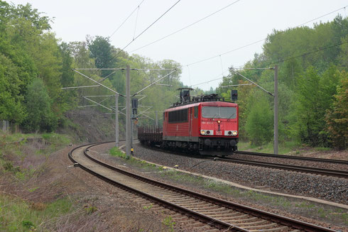 155 253 mit umgeleitetem Gz im Bhf Klingenberg-Colmnitz