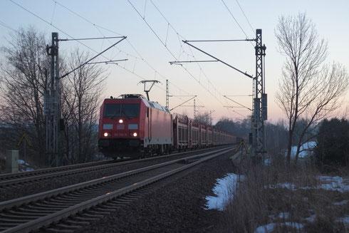 185 354 mit dem Autoleerzug GA 44395 auf dem Colmnitzer Viadukt
