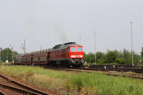 233 232 mit Autogz bei der Ausfahrt aus dem Güterbahnhof Horka