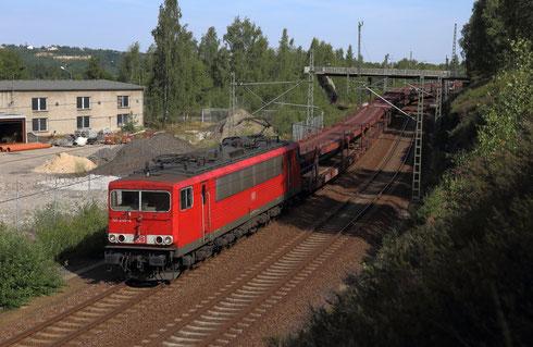 155 245 mit Leerautozug zur Zwischenabstellung in Freiberg am Hp Muldenhütten
