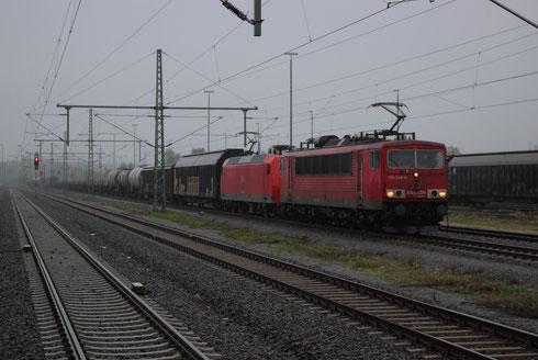 155 248 und 145 020 mit umgeleitetem Gz in Freiberg