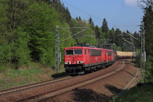 155 194, 155 122 und 180 018 mit umgeleiteten Gz bei Klingenberg
