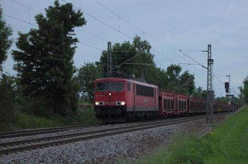 155 128 mit Autoleerzug 47337 am BÜ Colmnitz