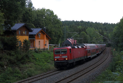 143 821 mit Fußballsonderzug nach Chemnitz bei Dorfhain