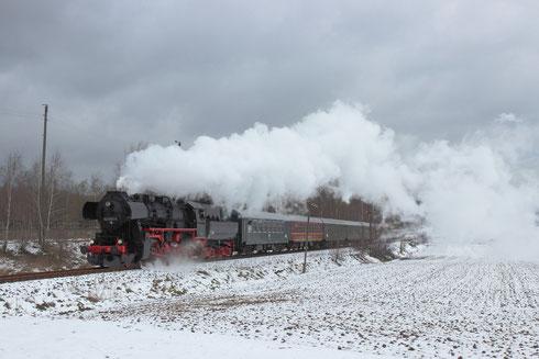 52 8131 mit Sonderzug auf der Zellwaldbahn in Großschirma