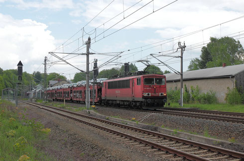 155 068 mit Sonderautovollzug im Bhf Klingenberg-Colmnitz