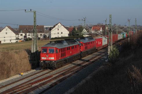 232 347+ 232 384 mit Umleiterconainerzug KT 91753 in Steinpleis