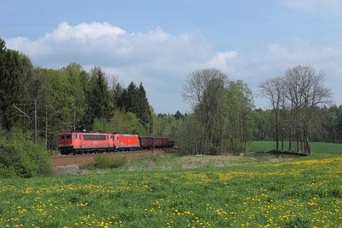 155 252 und 185 402 mit umgeleiteten Gz bei Klingenberg