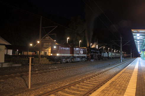 112 708 und 35 1097 mit Sonderzug von Jungenbunzlau nach Glauchau in Tharandt