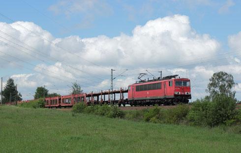 155 089 mit Sonderautoleerzug bei Colmnitz