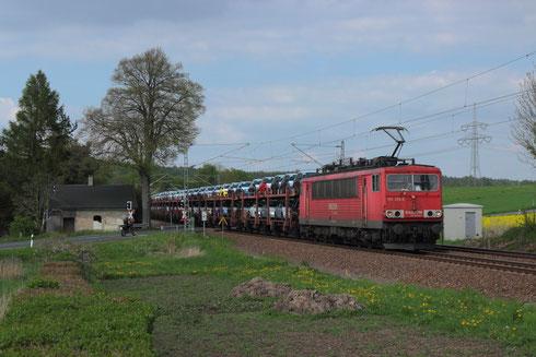 155 252 mit Sonderautovollzug am BÜ Colmnitz
