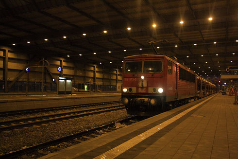 155 073 mit Autozug in Chemnitz Hauptbahnhof