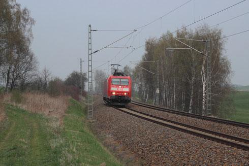 185 014 als Lz Fahrt von Dresden nach Zwickau zw. Colmnitz und Niederbobritzsch