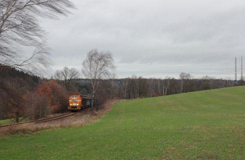 Der letzte Zug auf der Anschlussbahn aus der Papierfabrik Weißenborn