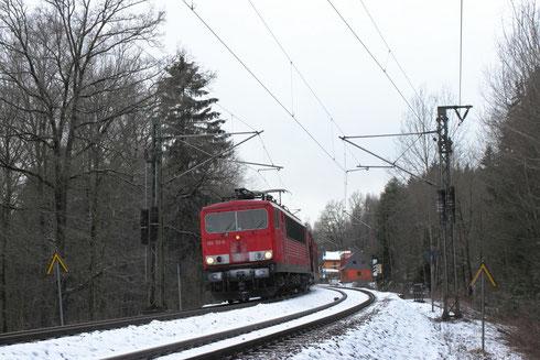 155 112 mit Autoleerzug bei Dorfhain
