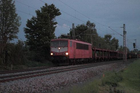 155 219 mit Autoleerzug 47337 am BÜ Colmnitz