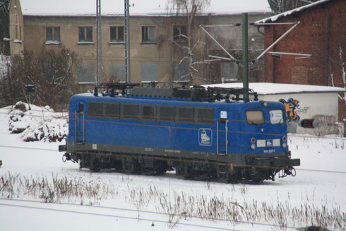 Press 140 037 als erste E-Lok in Plaue ob. Bahnhof