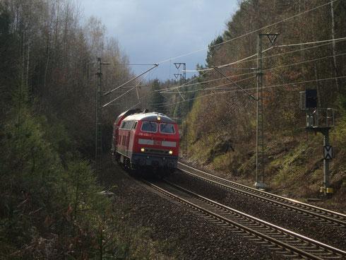 218 430 auf der Rückfahrt nach Chemnitz