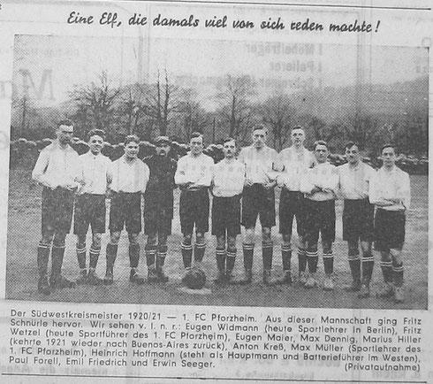 1. FC Pforzheim - Südwestkreismeister 1920/21