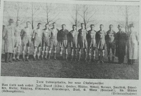 TuRa Ludwigshafen - Meister der Bezirksklasse Ostpfalz 1940/41