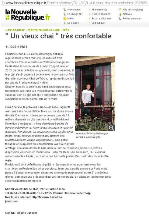 Article Nouvelle République Oct 2014