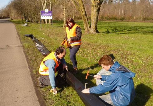 Luis Ramos und zwei Helfer beim Aufbau des Amphibienzaunes am 24. Februar (Dreyer 2014)