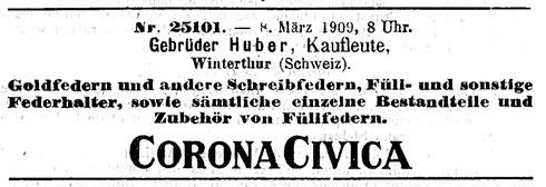 Eintrag von 1909 im Schweizerisches Handelsamtsblatt