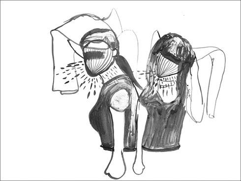 Schwestern, vielleicht, vielleicht, 2008, Tusche auf Papier, 59,4 x 42 cm