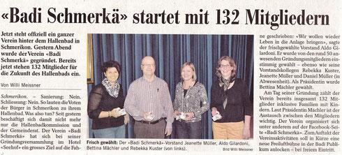 Gründung Verein Badi Schmerkä 2. Mai 2014