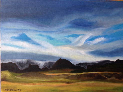 Mýrdalsjökull Glacier seen from Einhyrningsflatir. A painting by Anja Bräuer from our Sleeping Dragons tour last summer.