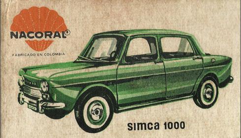 Caja del Simca 1000, ref. 2001, fabricado en Cúcuta (Colombia). Impresión: Editorial Andes.